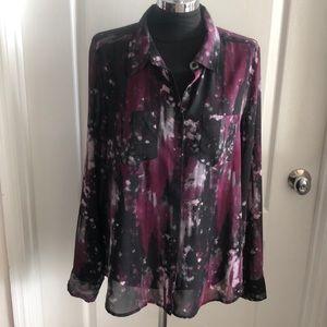 Guess bottom down Water Color Black Pink  Shirt XL